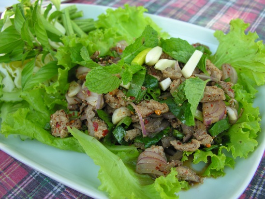 Laap bla (spicy Isaan style fish salad) at Wine Wild Why Restaurant in Mukdahan.